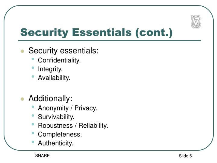 Security Essentials (cont.)