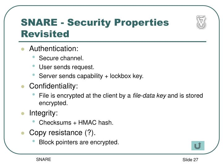 SNARE - Security Properties Revisited