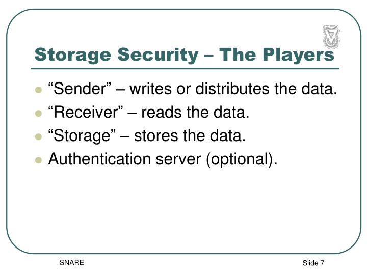 Storage Security – The Players