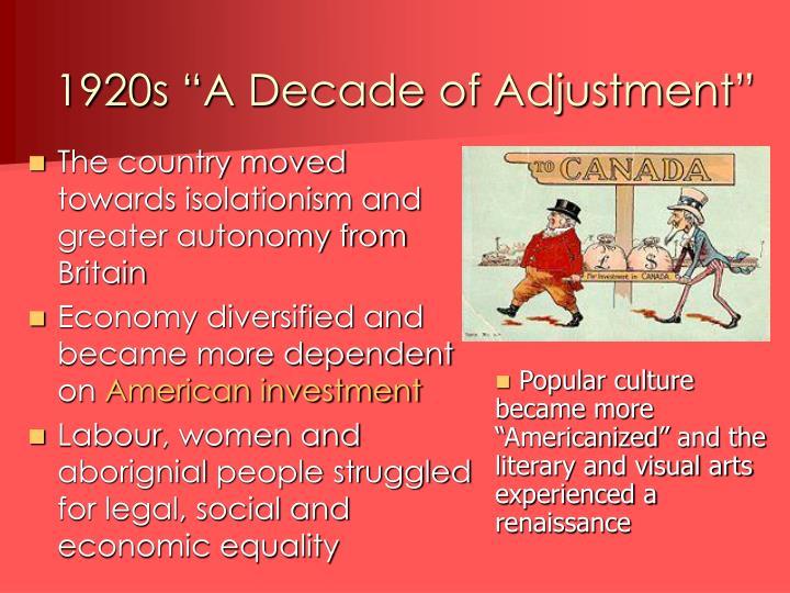"""1920s """"A Decade of Adjustment"""""""