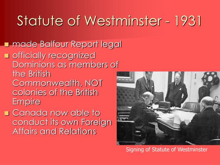 Statute of Westminster - 1931