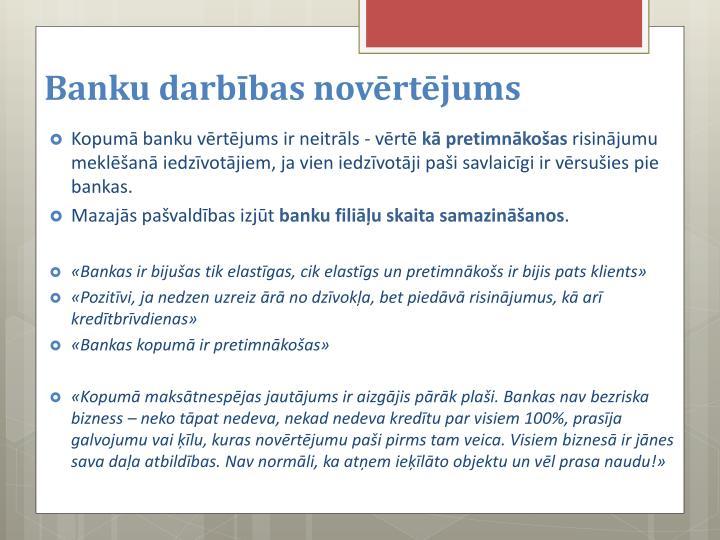 Banku darbības novērtējums