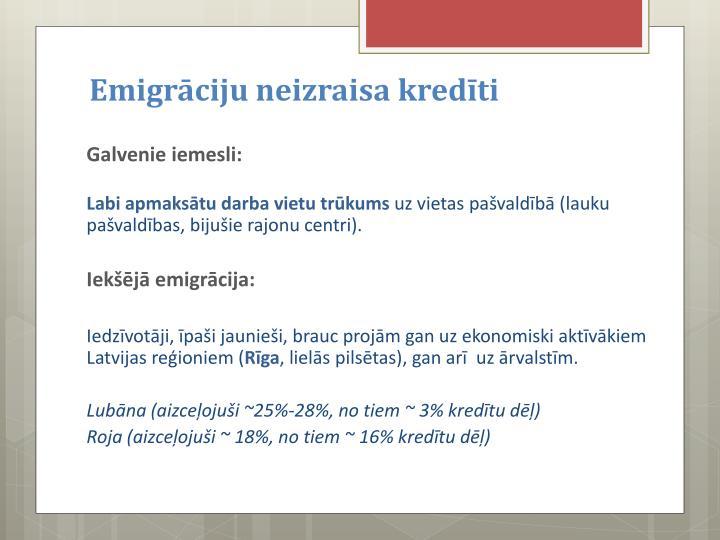 Emigrāciju neizraisa kredīti