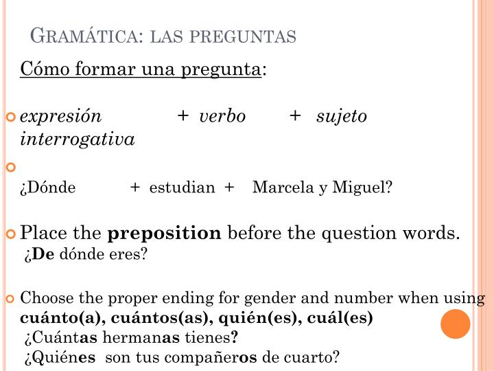 Gramática: las preguntas