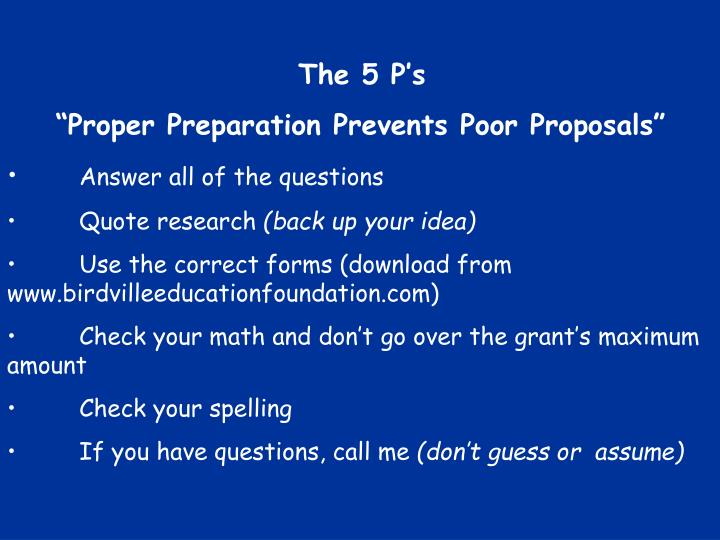 The 5 P's