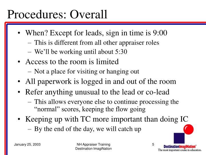 Procedures: Overall