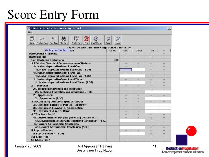 Score Entry Form