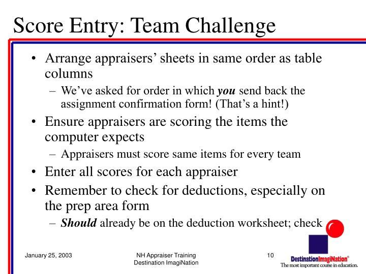 Score Entry: Team Challenge