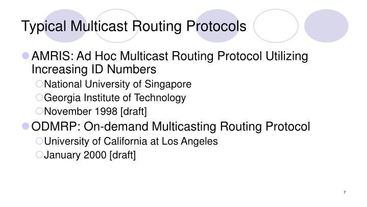 Typical Multicast Routing Protocols