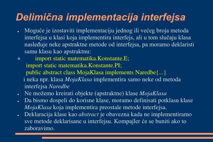 Delimična implementacija interfejsa
