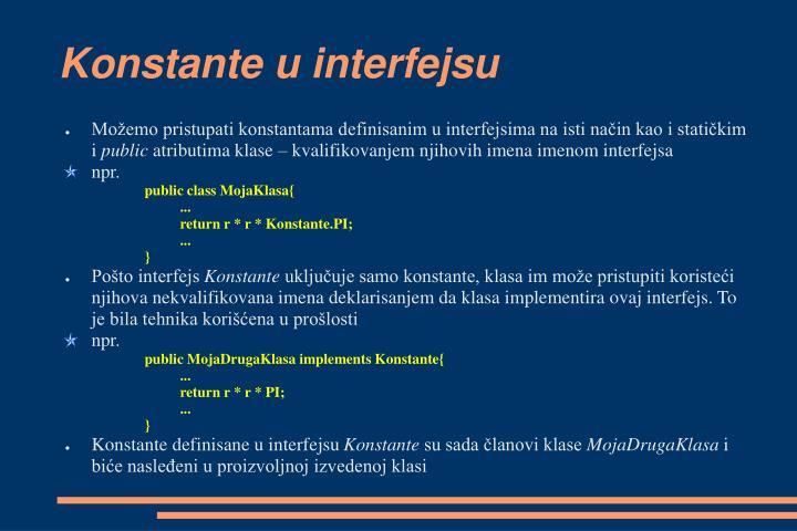 Konstante u interfejsu