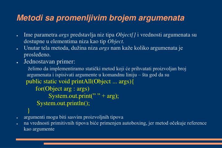 Metodi sa promenljivim brojem argumenata