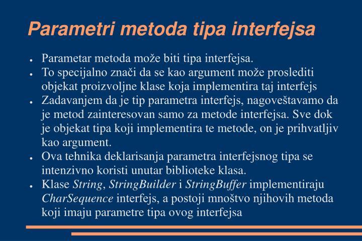 Parametri metoda tipa interfejsa