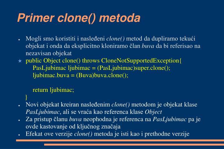 Primer clone() metoda
