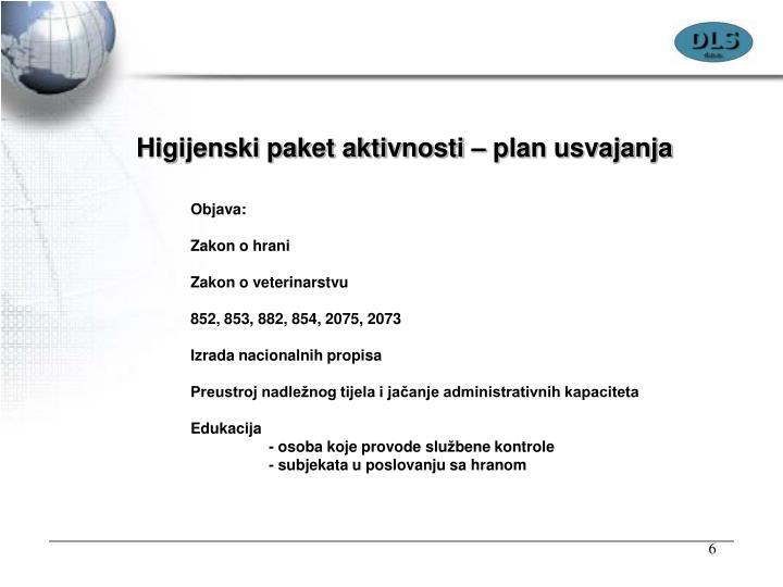 Higijenski paket aktivnosti – plan usvajanja