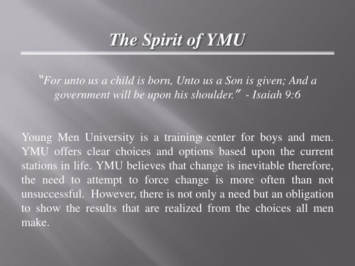 The Spirit of YMU