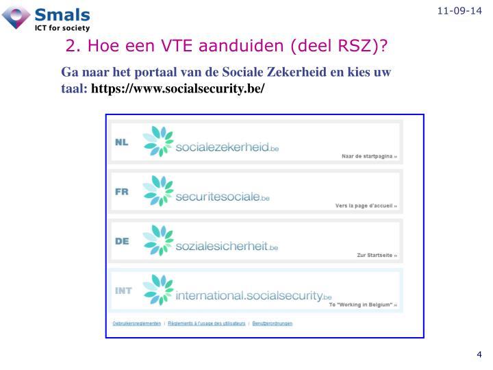 2. Hoe een VTE aanduiden (deel RSZ)?