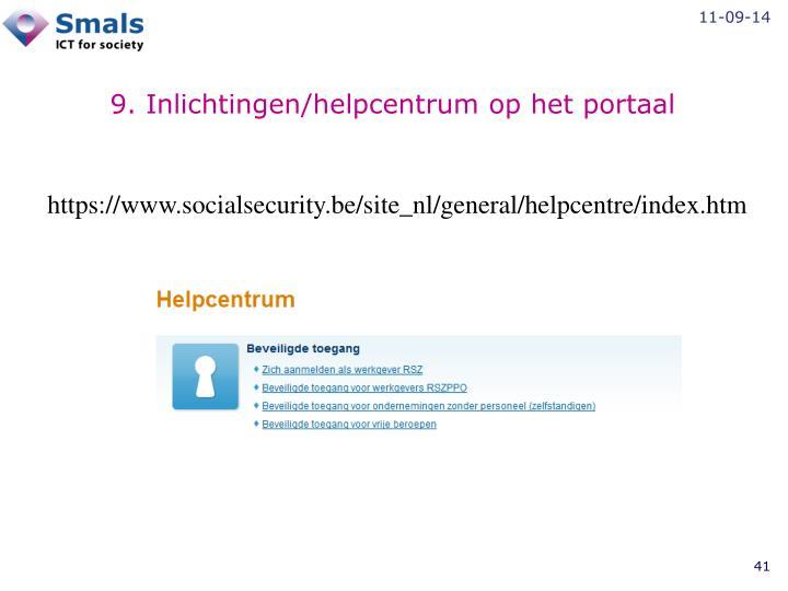 9. Inlichtingen/helpcentrum op het portaal