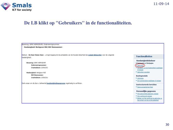 """De LB klikt op """"Gebruikers"""" in de functionaliteiten."""