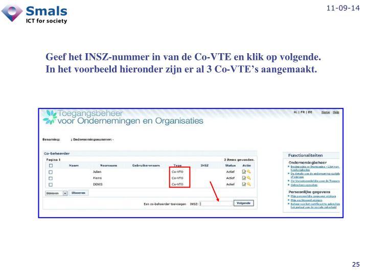 Geef het INSZ-nummer in van de Co-VTE en klik op volgende.