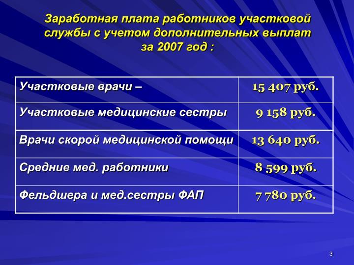 Заработная плата работников участковой службы с учетом дополнительных выплат