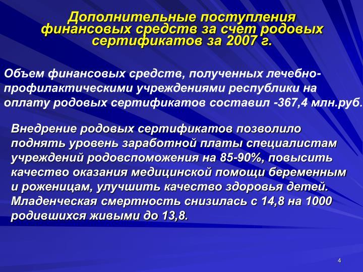 Дополнительные поступления финансовых средств за счет родовых сертификатов за 2007 г.