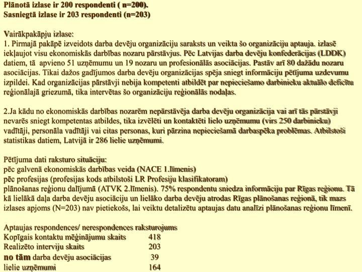 Plānotā izlase ir 200 respondenti ( n=200).