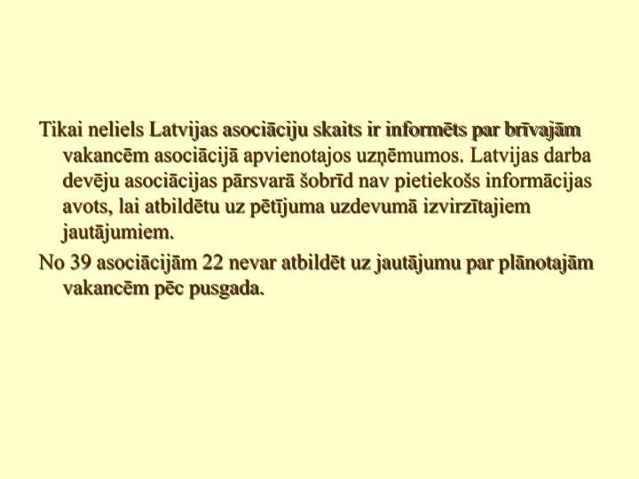 Tikai neliels Latvijas asociāciju skaits ir informēts par brīvajām vakancēm asociācijā apvienotajos uzņēmumos. Latvijas darba devēju asociācijas pārsvarā šobrīd nav pietiekošs informācijas avots, lai atbildētu uz pētījuma uzdevumā izvirzītajiem jautājumiem.