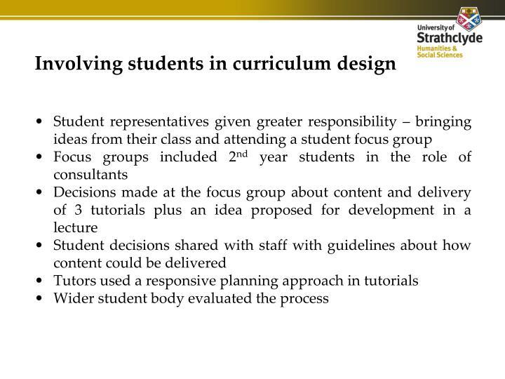 Involving students in curriculum design