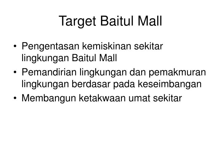 Target Baitul Mall