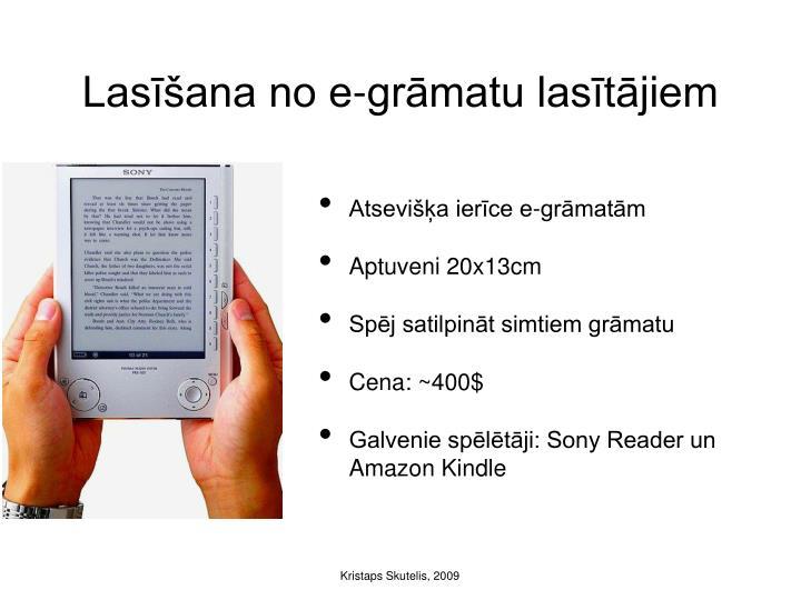 Lasīšana no e-grāmatu lasītājiem