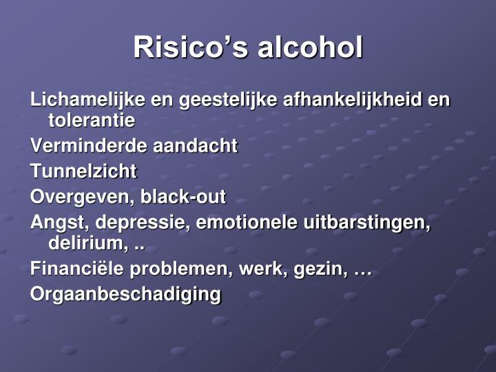Risico's alcohol