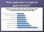 waar gebruiken jongeren geen alcohol
