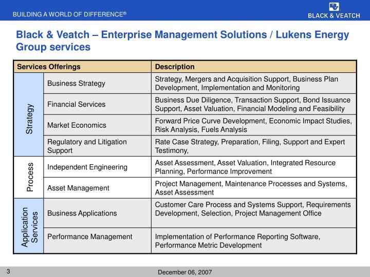 Black & Veatch – Enterprise Management Solutions / Lukens Energy Group services