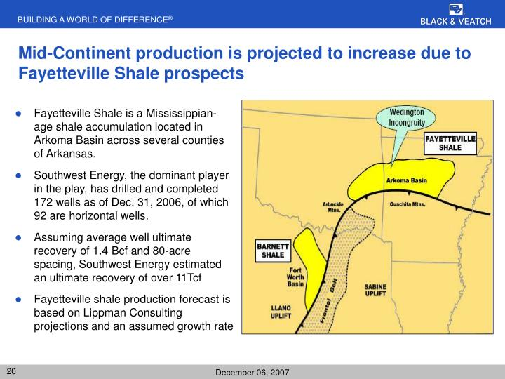 Mid-Continent production is projected to increase due to Fayetteville Shale prospects