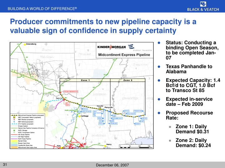 Producer commitments to new pipeline capacity is a valuable sign of confidence in supply certainty