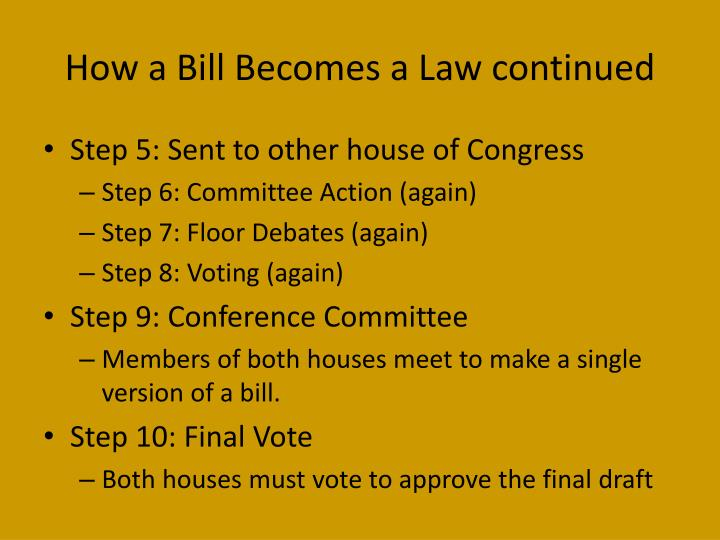 How a Bill Becomes a Law continued