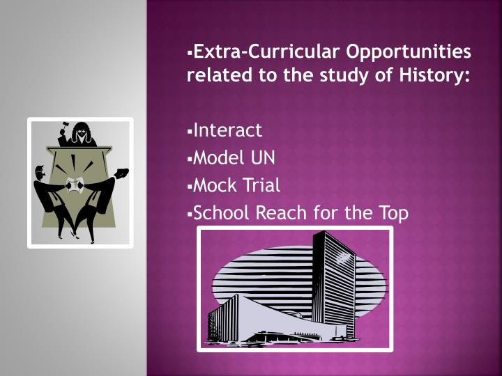 Extra-Curricular Opportunities related to the study of History: