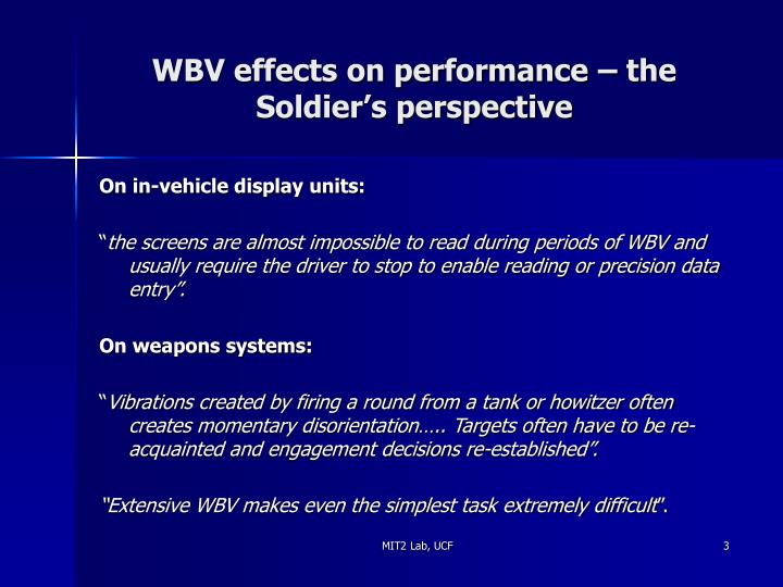 Wbv effects on performance the soldier s perspective