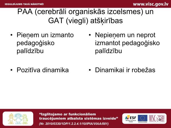 PAA (cerebrāli organiskās izcelsmes) un GAT (viegli) atšķirības