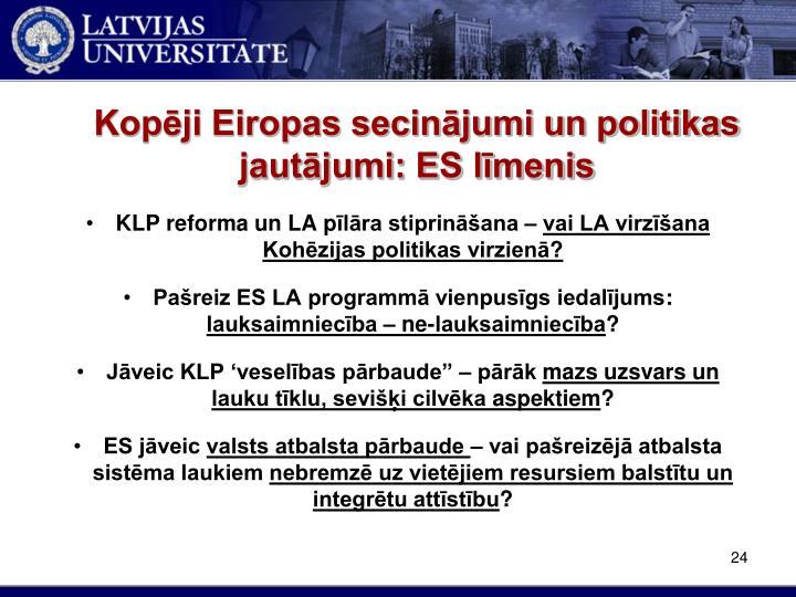 Kopēji Eiropas secinājumi un politikas jautājumi: ES līmenis