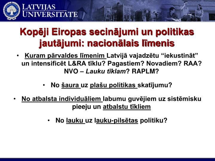 Kopēji Eiropas secinājumi un politikas jautājumi: nacionālais līmenis