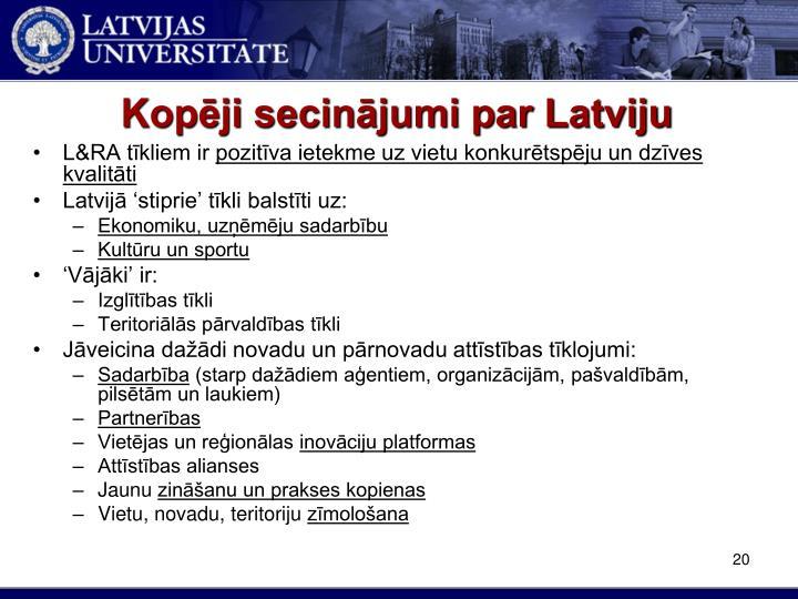 Kopēji secinājumi par Latviju