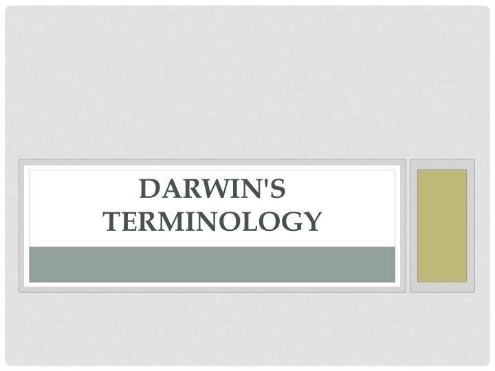 Darwin's Terminology