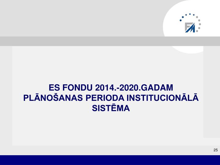 ES FONDU 2014.-2020.GADAM plānošanas perioda INSTITUCIONĀLĀ SISTĒMA