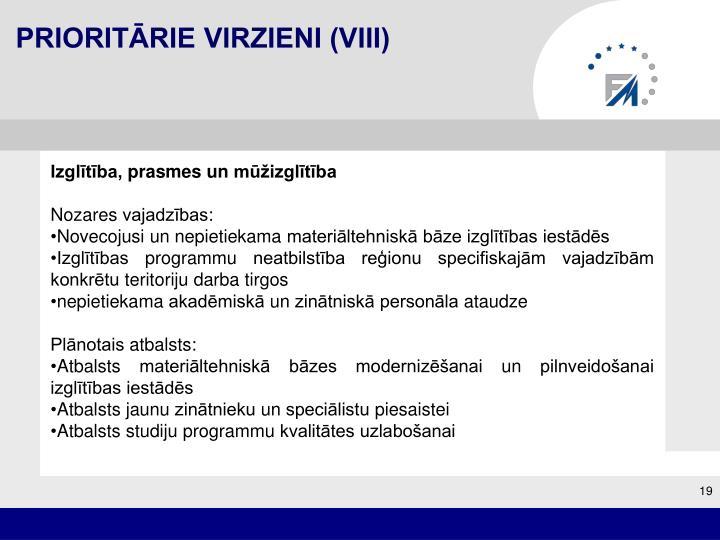 Prioritārie virzieni (VIII)