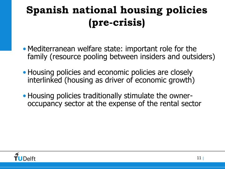Spanish national housing policies