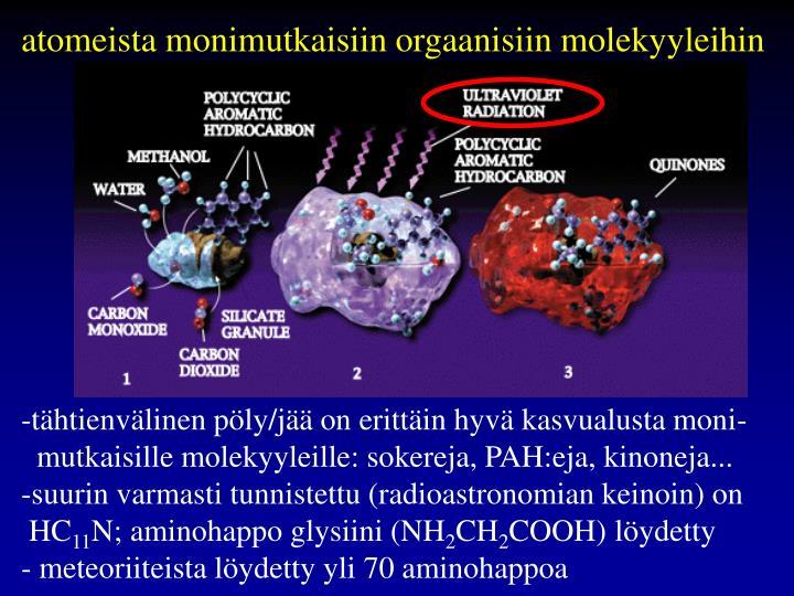 atomeista monimutkaisiin orgaanisiin molekyyleihin