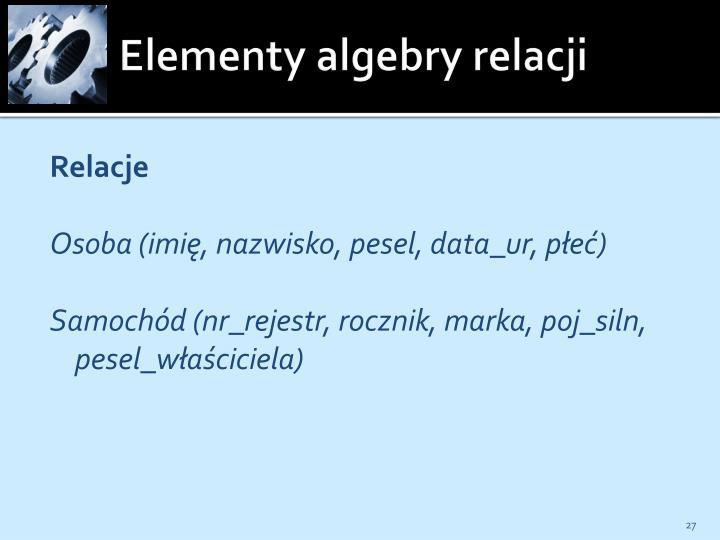 Elementy algebry relacji