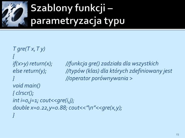 Szablony funkcji – parametryzacja typu